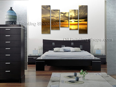 Pentaptych Contemporary Wall Art Seascape Sunrise Canvas Stretched