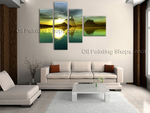 Large Contemporary Wall Art Seascape Painting Sunrise Scenery Pictures