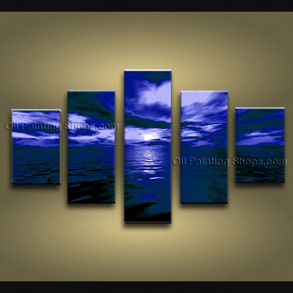 5 Pieces Contemporary Wall Art Seascape Painting Moon Scene Sunset Scenery