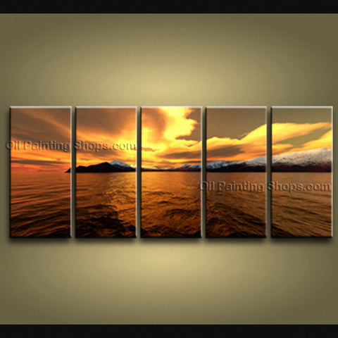 5 Pieces Contemporary Wall Art Seascape Painting Sunrise Scenery Pictures