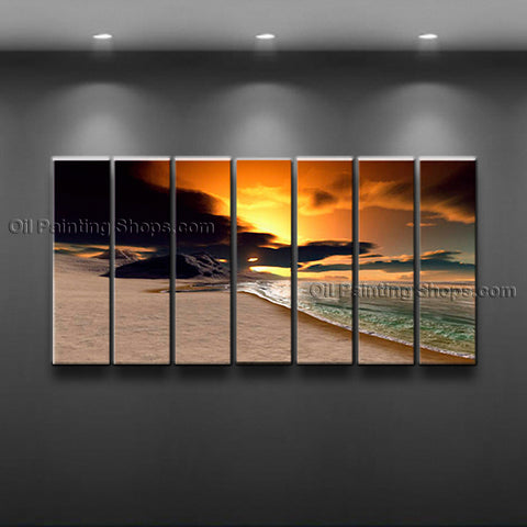 X Huge Contemporary Wall Art Seascape Painting Beach Sunset Scenery