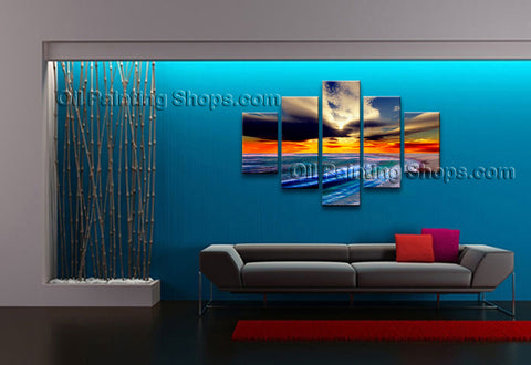 Handmade Large Contemporary Wall Art Seascape Painting Beach Inner Framed
