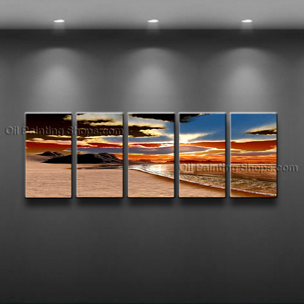 Large Contemporary Wall Art Seascape Painting Beach Sunset Scenery