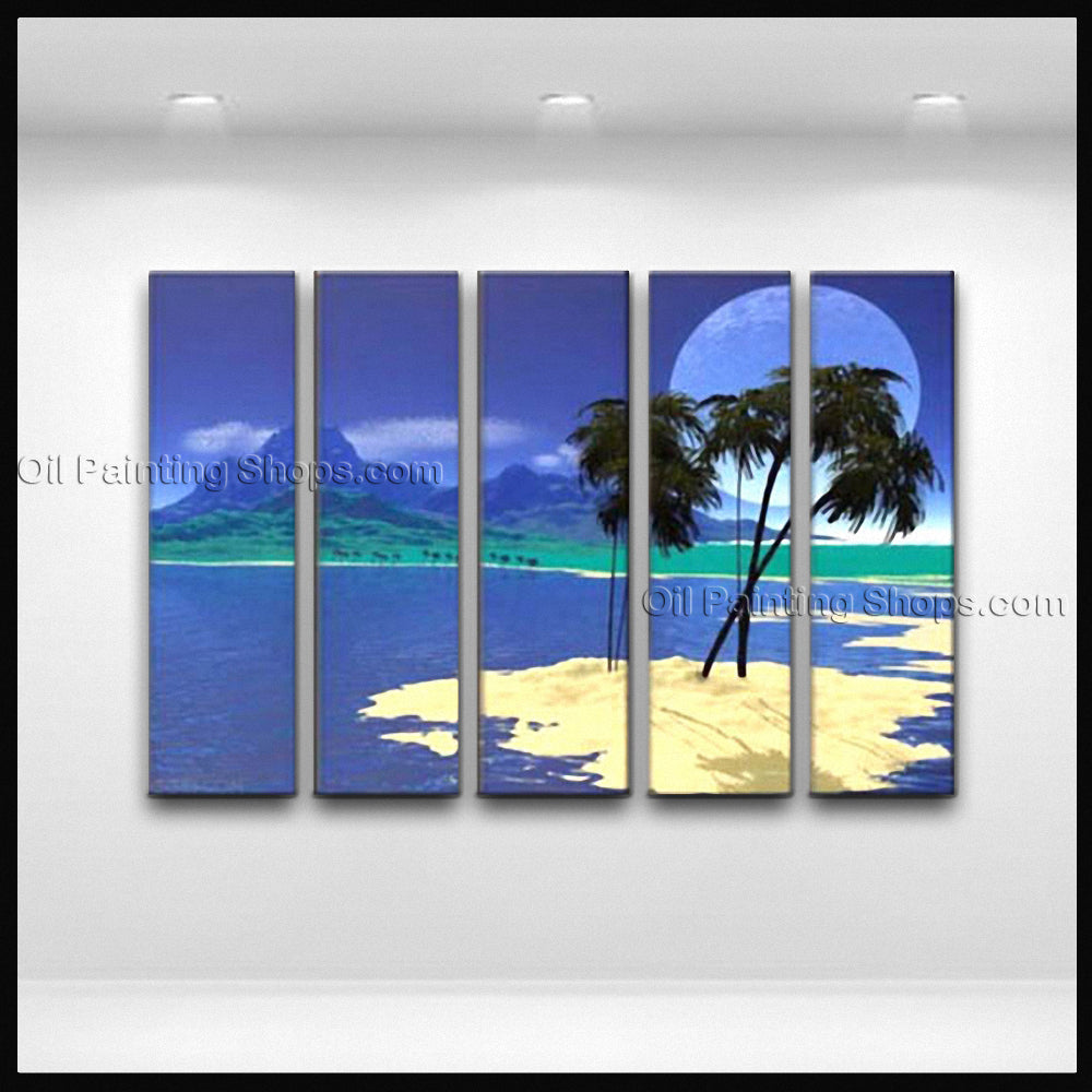 Large Contemporary Wall Art Seascape Painting Sunrise Canvas Stretched