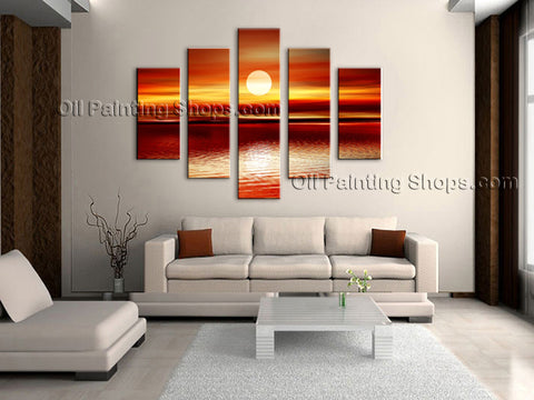 Large Contemporary Wall Art Seascape Painting Sunset Gallery Wrapped