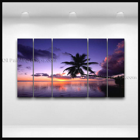 Large Contemporary Wall Art Seascape Painting Hawaii Beach Sunrise Scenery