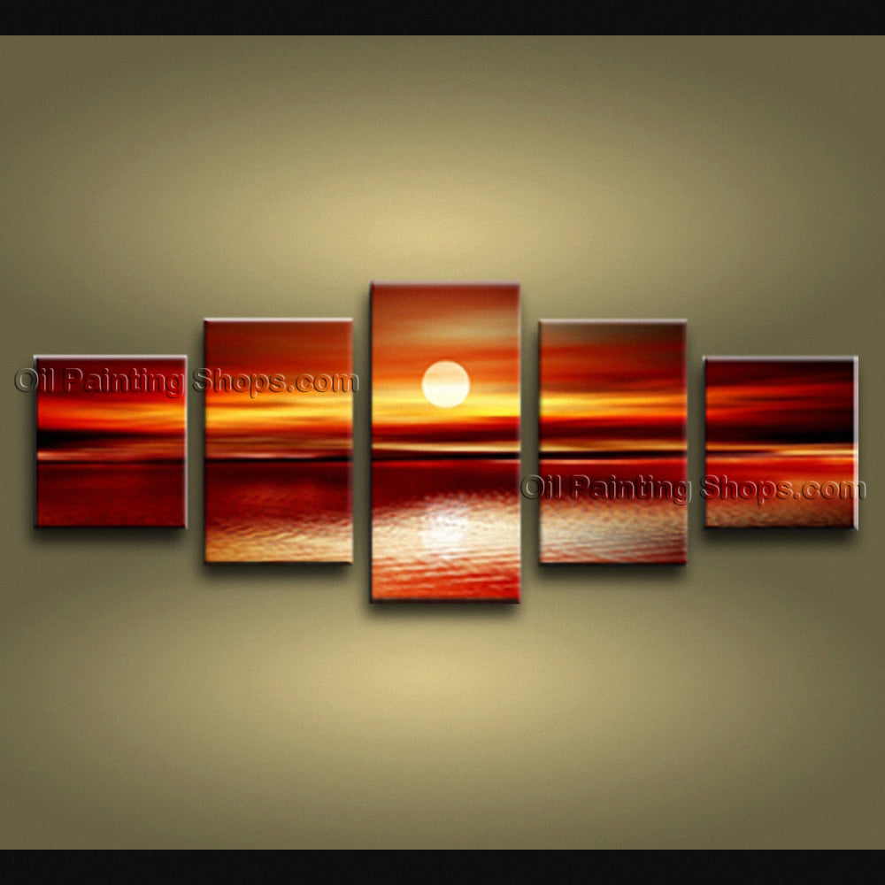 5 Pieces Contemporary Wall Art Seascape Painting Sunset Ocean Waves