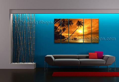 Pentaptych Contemporary Wall Art Seascape Hawaii Beach Canvas Stretched