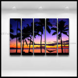 5 Pieces Contemporary Wall Art Seascape Painting Hawaii Beach Inner Framed