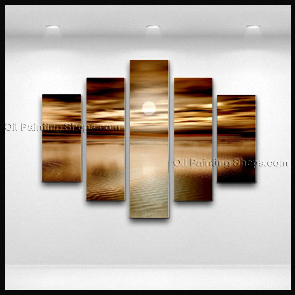 Pentaptych Contemporary Wall Art Seascape Painting Moon Scene Canvas Art
