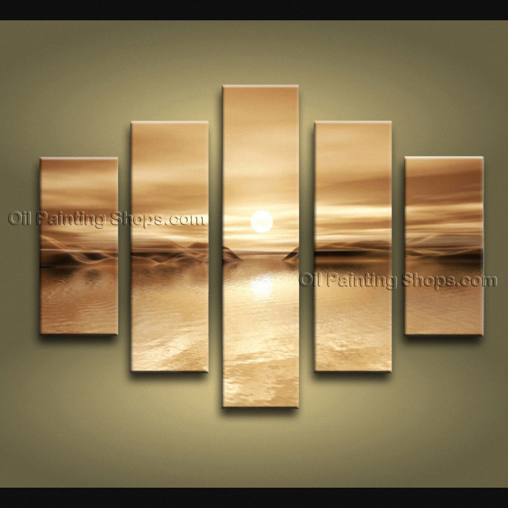5 Pieces Contemporary Wall Art Seascape Painting Moon Scene Inner Framed
