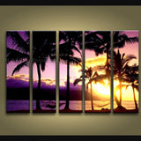 Pentaptych Contemporary Wall Art Seascape Hawaii Beach Sunrise Scenery