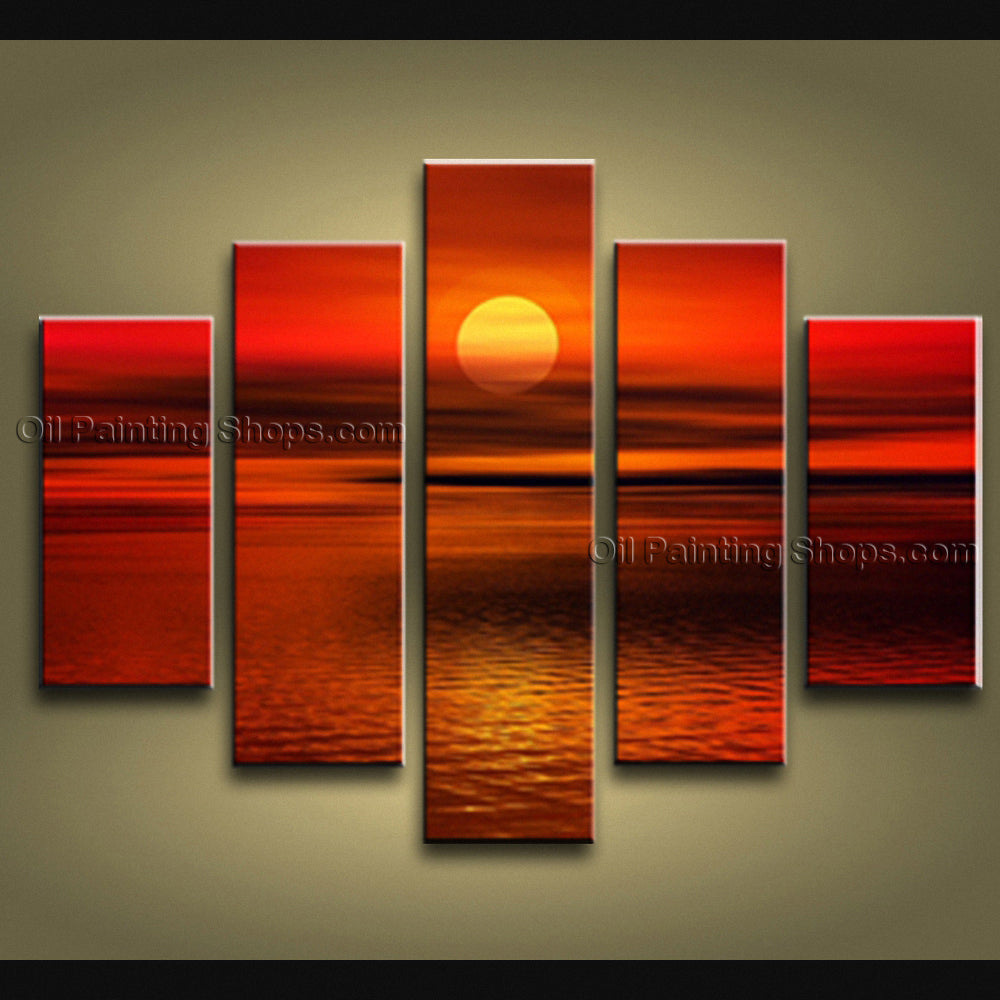 Pentaptych Contemporary Wall Art Seascape Painting Sunset Gallery Wrapped