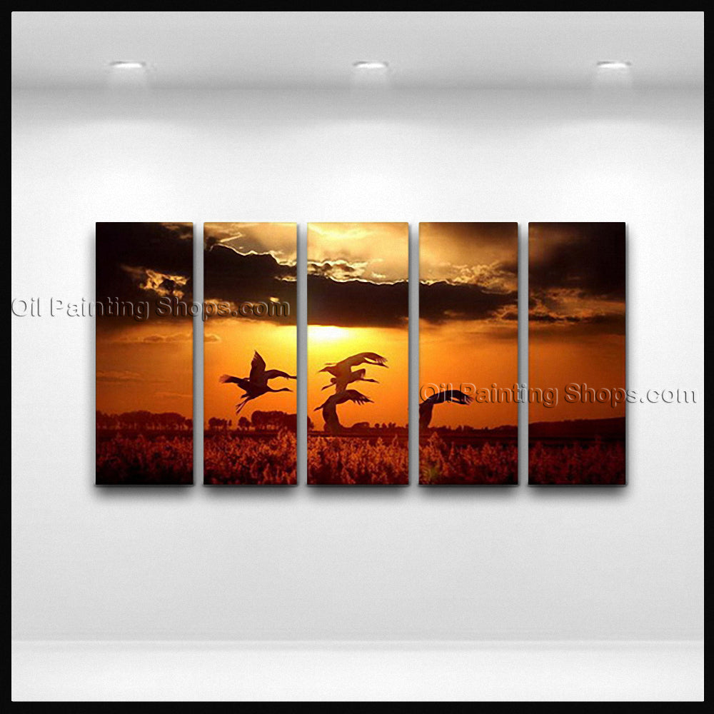 5 Pieces Contemporary Wall Art Seascape Painting Sunset Gallery Wrapped