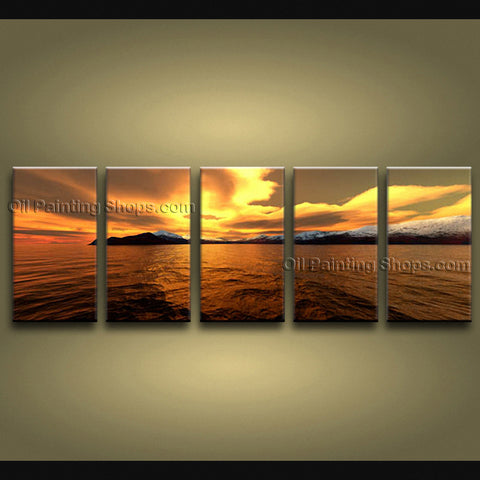 Handmade Large Contemporary Wall Art Seascape Painting Sunset Inner Framed