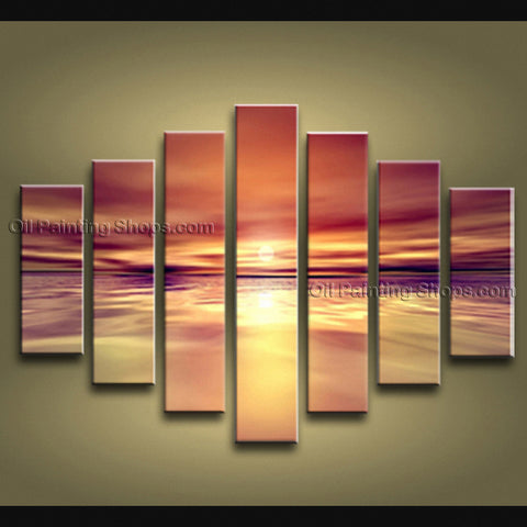 Oversized Contemporary Wall Art Seascape Painting Sunset Inner Framed