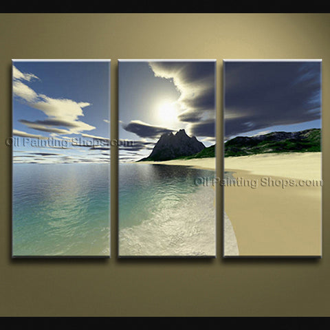 Stunning Contemporary Wall Art Seascape Painting Beach Sunrise Scenery