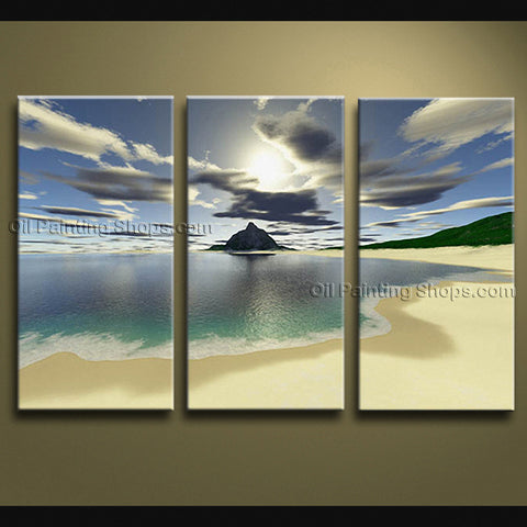 Stunning Contemporary Wall Art Seascape Painting Beach Sunset Scenery