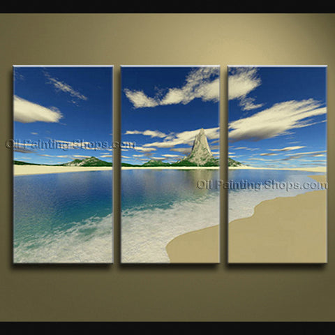 Elegant Contemporary Wall Art Seascape Painting Beach Ready To Hang