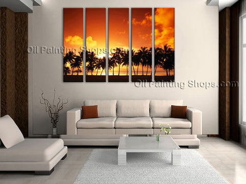 Pentaptych Contemporary Wall Art Seascape Painting Hawaii Beach Canvas Art