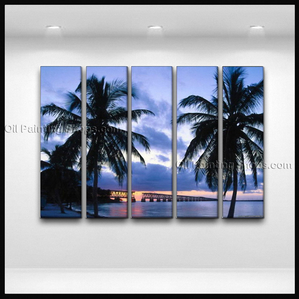 Large Contemporary Wall Art Seascape Painting Hawaii Beach Sunset Scenery