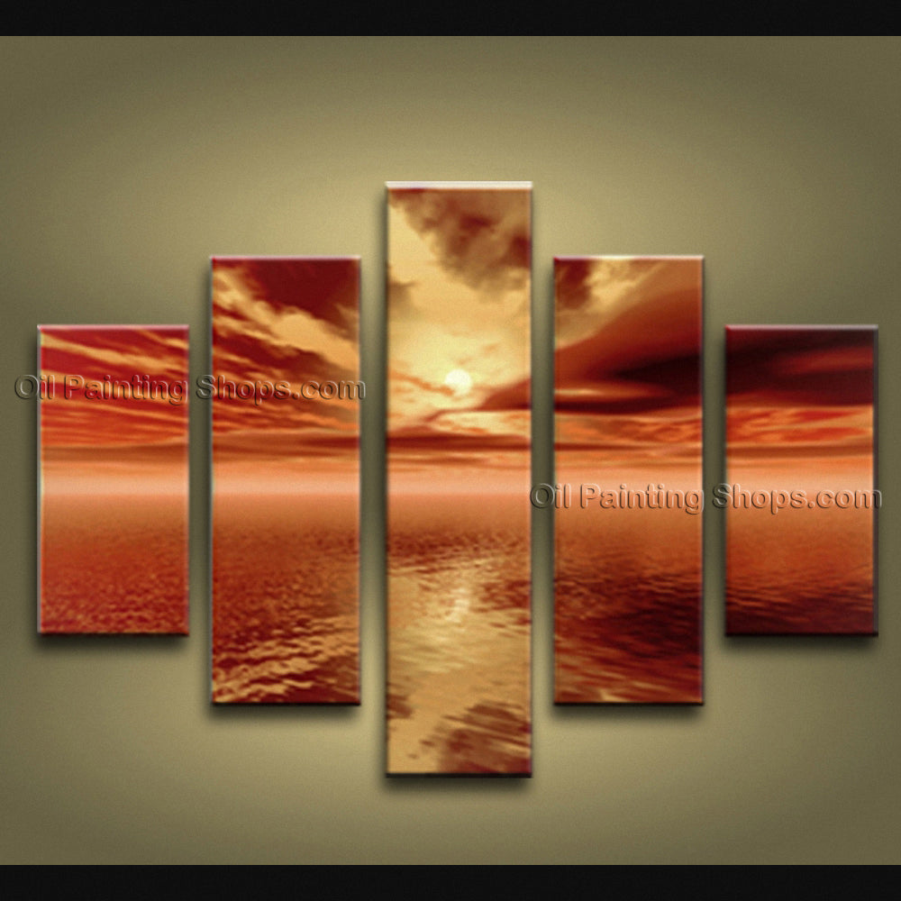 5 Pieces Contemporary Wall Art Seascape Painting Sunset Inner Framed