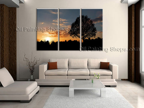 Triptych Contemporary Wall Art Seascape Painting Sunset Canvas Stretched