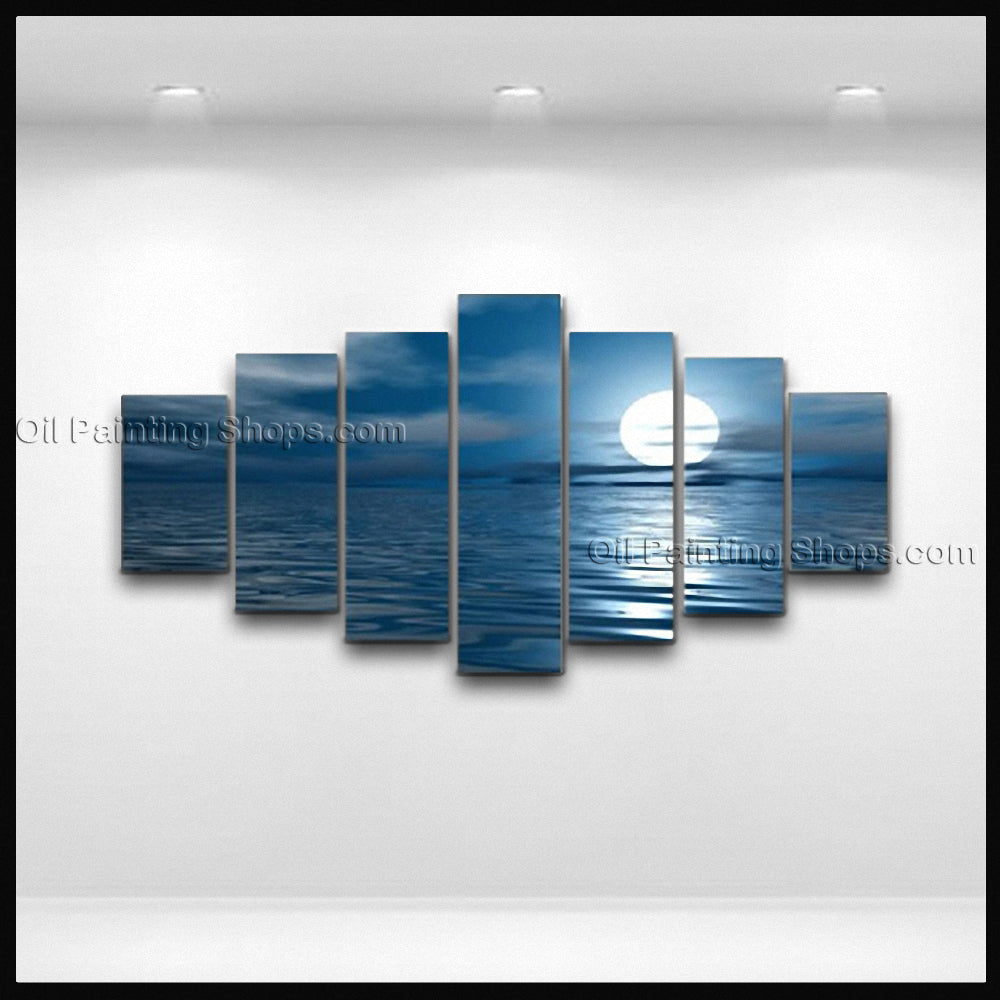 X Large Contemporary Wall Art Seascape Painting Moon Scene On Canvas