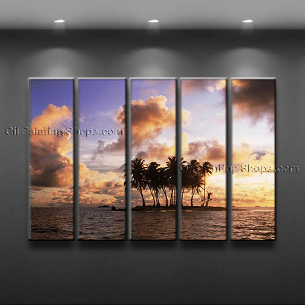 Large Contemporary Wall Art Seascape Painting Sunset Oil On Canvas