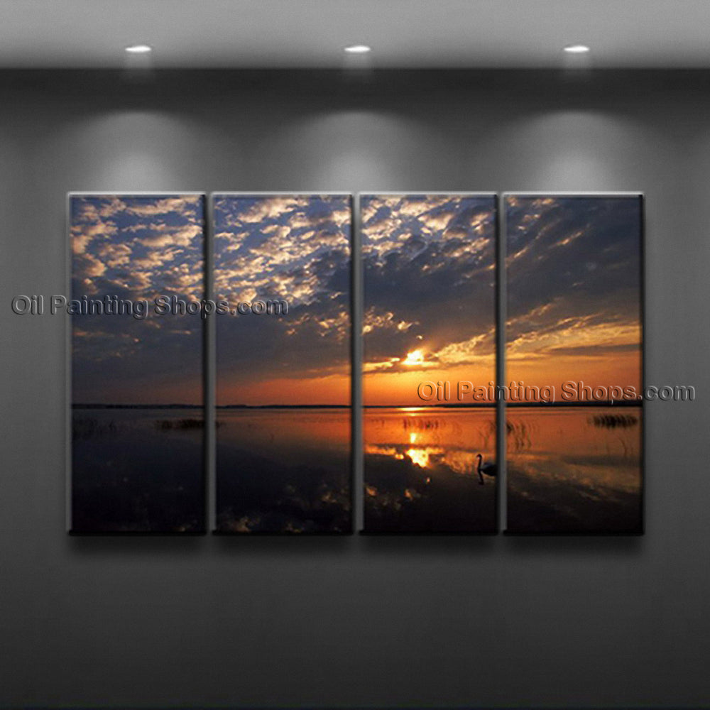Tetraptych Contemporary Wall Art Seascape Painting Sunset Ocean Waves