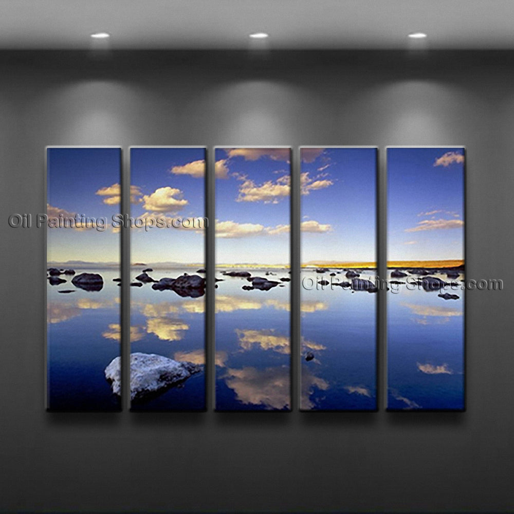 Large Contemporary Wall Art Seascape Painting Sunrise Inner Framed