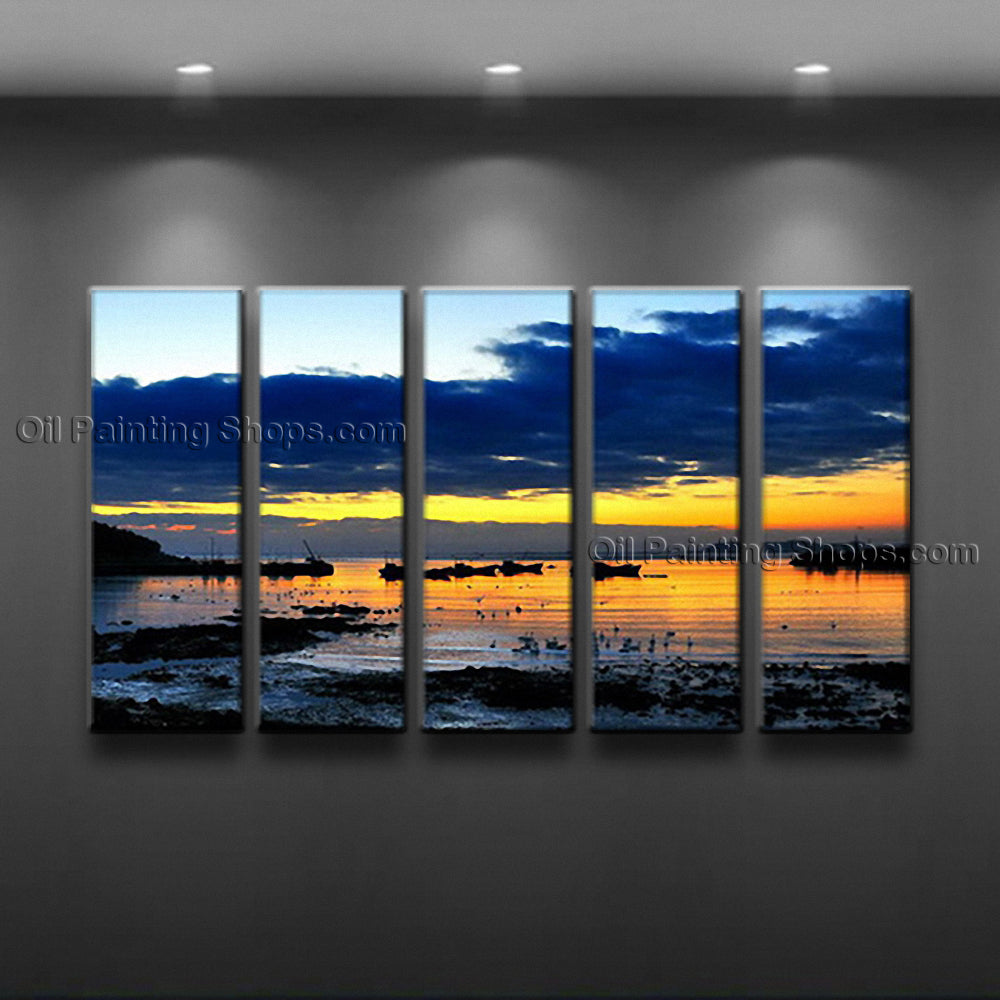 5 Pieces Contemporary Wall Art Seascape Painting Sunset Oil On Canvas