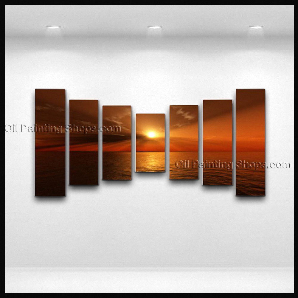 Oversized Contemporary Wall Art Seascape Painting Sunset Ready To Hang