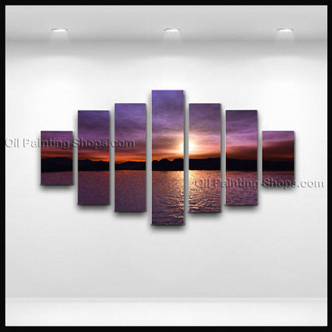 X Large Contemporary Wall Art Seascape Painting Sunset Ocean Waves