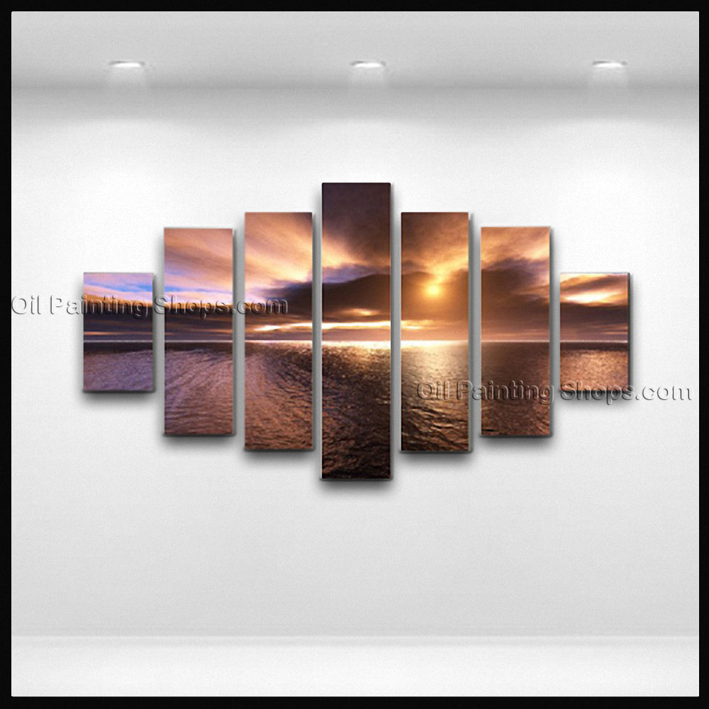 X Huge Contemporary Wall Art Seascape Painting Sunrise Oil On Canvas