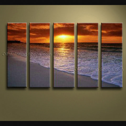 5 Pieces Contemporary Wall Art Seascape Painting Beach Sunrise Scenery