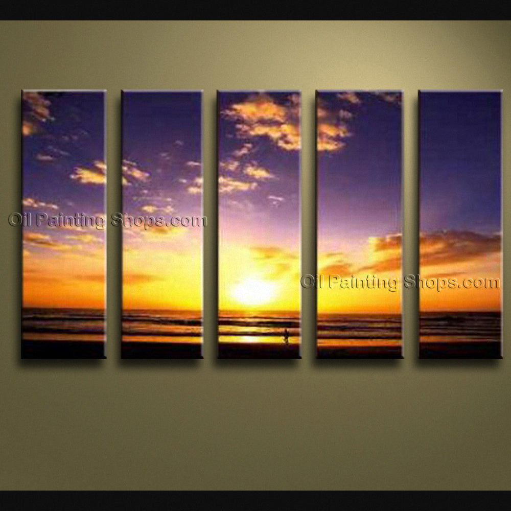 Large Contemporary Wall Art Seascape Painting Sunrise Oil On Canvas