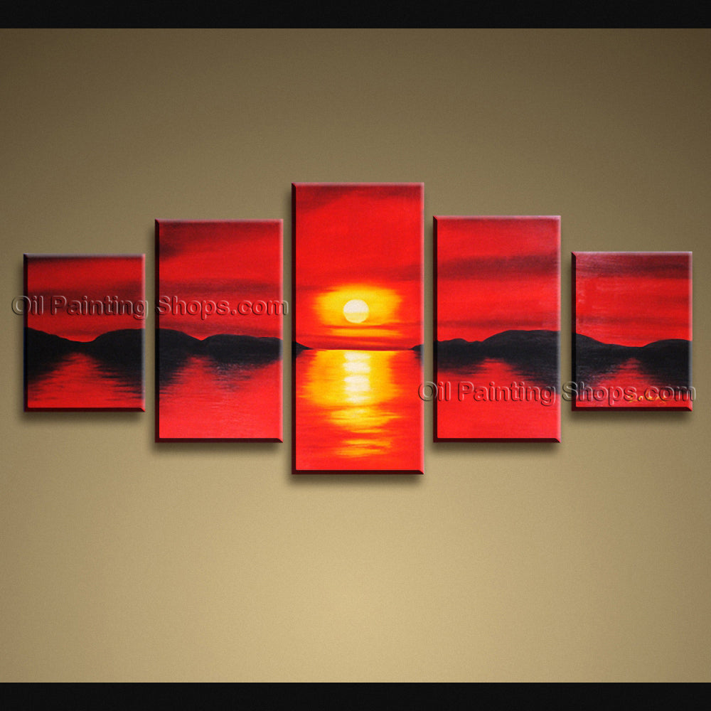 Large Contemporary Wall Art Seascape Painting Sunset Ready To Hang