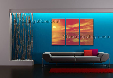 Beautiful Contemporary Wall Art Seascape Painting Sunset Ready To Hang