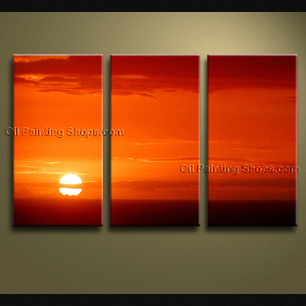 Stunning Contemporary Wall Art Seascape Painting Sunset Scenery Pictures