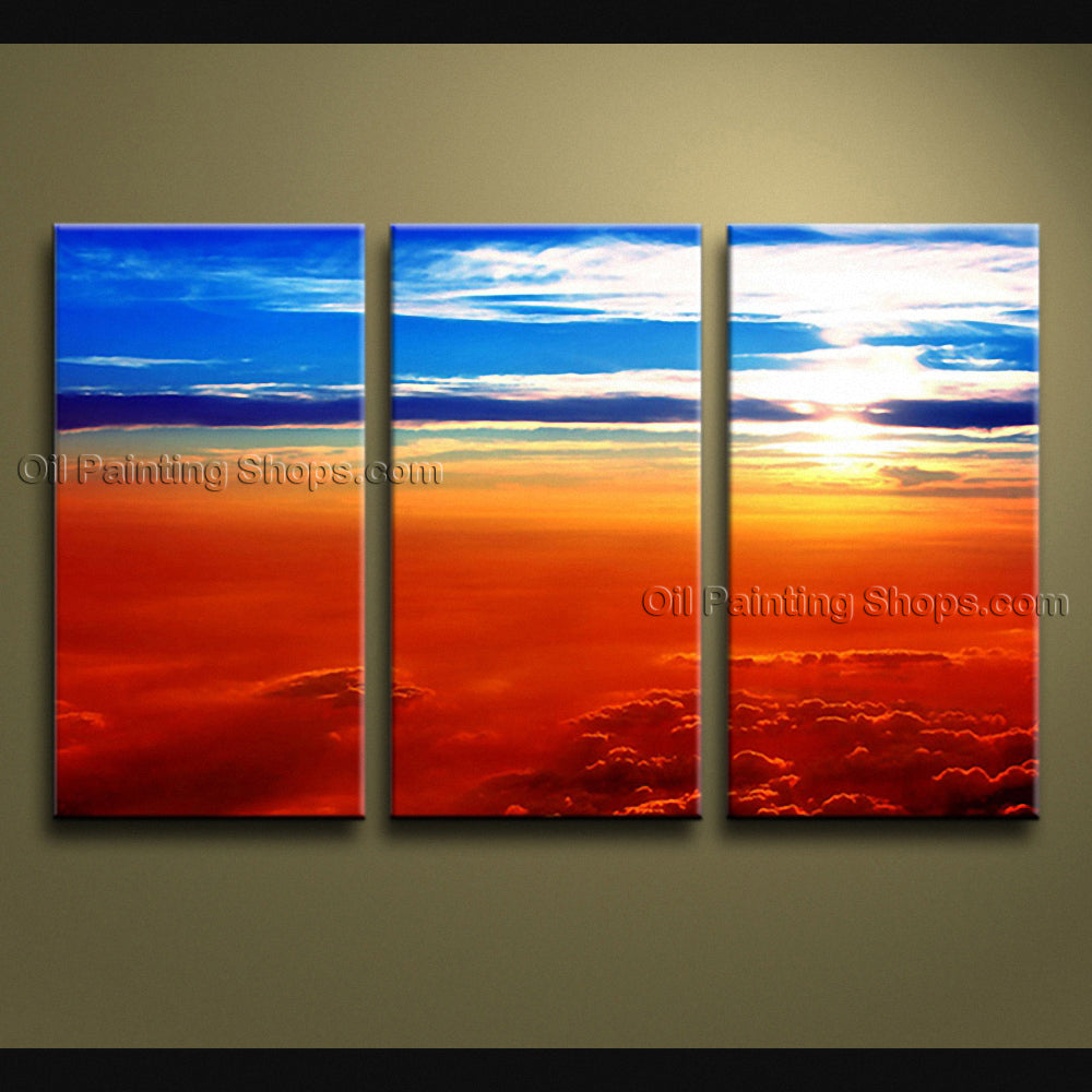 Beautiful Contemporary Wall Art Seascape Painting Sunset Canvas Stretched