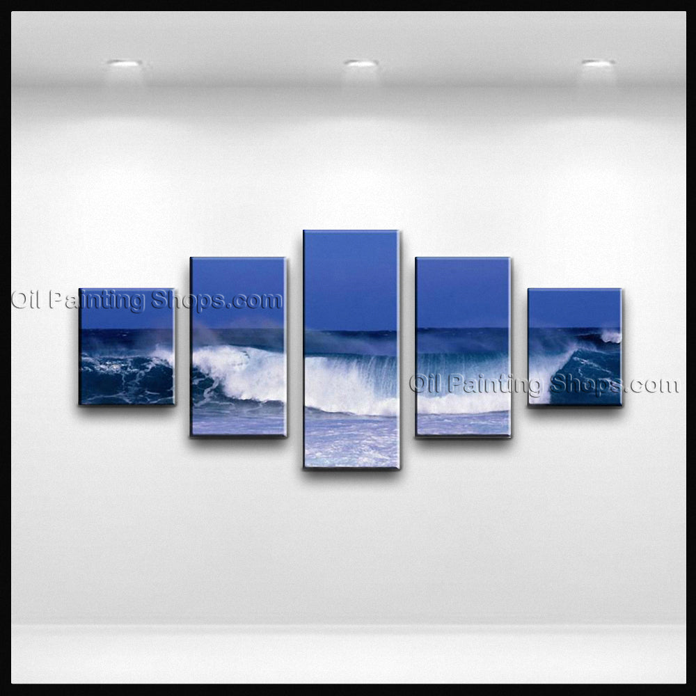 Pentaptych Contemporary Wall Art Seascape Painting Beach Oil Paintings
