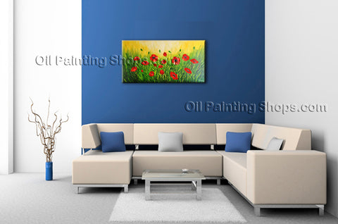 Elegant Contemporary Wall Art Floral Painting Poppy Contemporary Decor