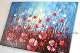 Astonishing Contemporary Wall Art Floral Painting Poppy Flower Oil Canvas