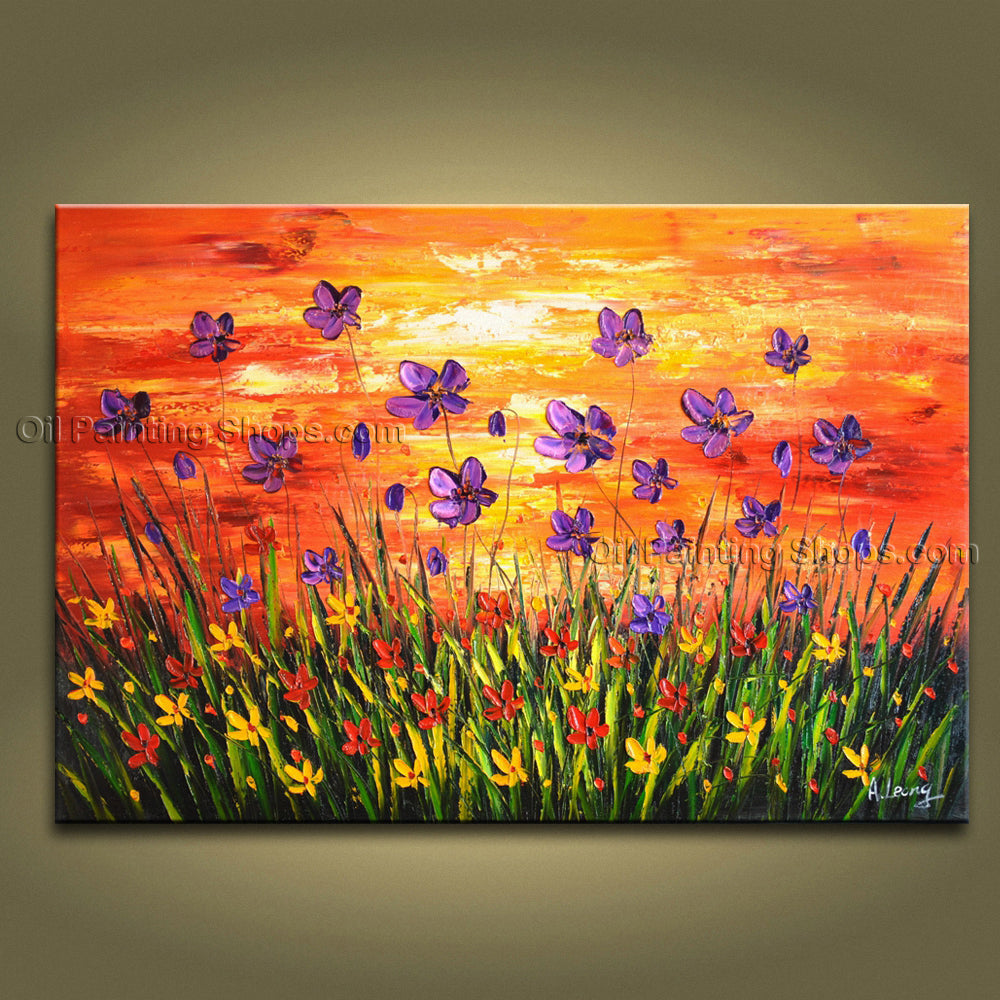Handmade Amazing Contemporary Wall Art Floral Painting Flower Oil Canvas