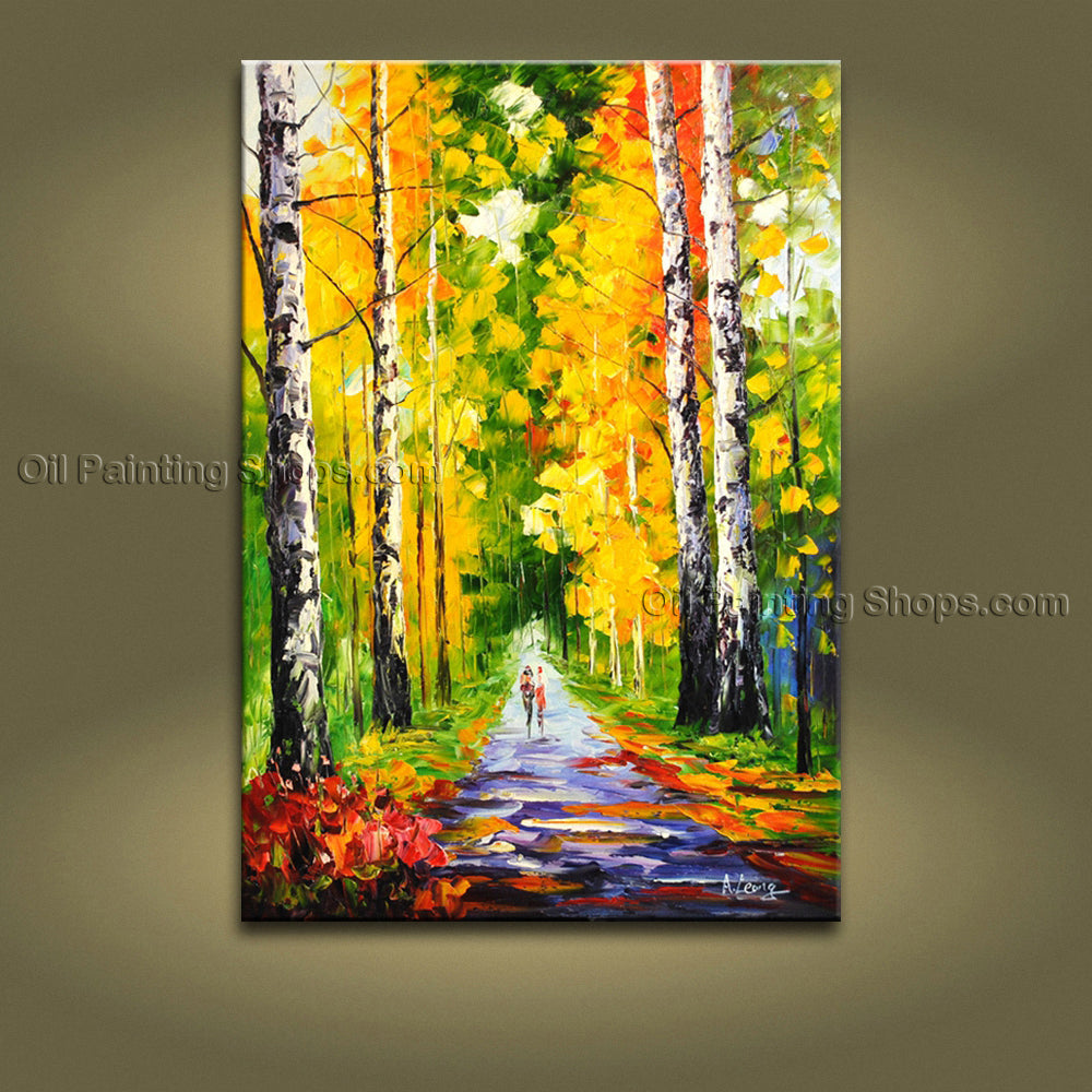 Amazing Contemporary Wall Art Landscape Painting Park Oil On Canvas