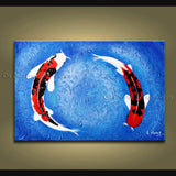 Beautiful Feng Shui Zen Art Contemporary Painting Koi Fish Oil On Canvas