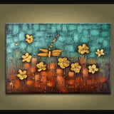 Beautiful Contemporary Wall Art Floral Painting Dragon Fly Flowers Artwork