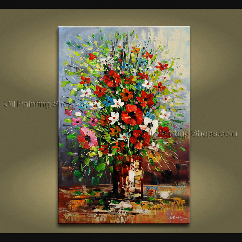Handmade Stunning Contemporary Wall Art Floral Painting Decoration Ideas