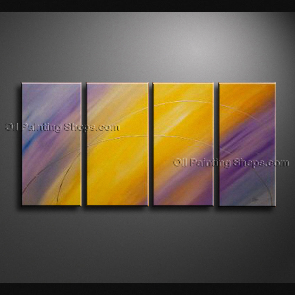 Hand-painted Tetraptych Modern Abstract Painting Wall Art Ready To Hang